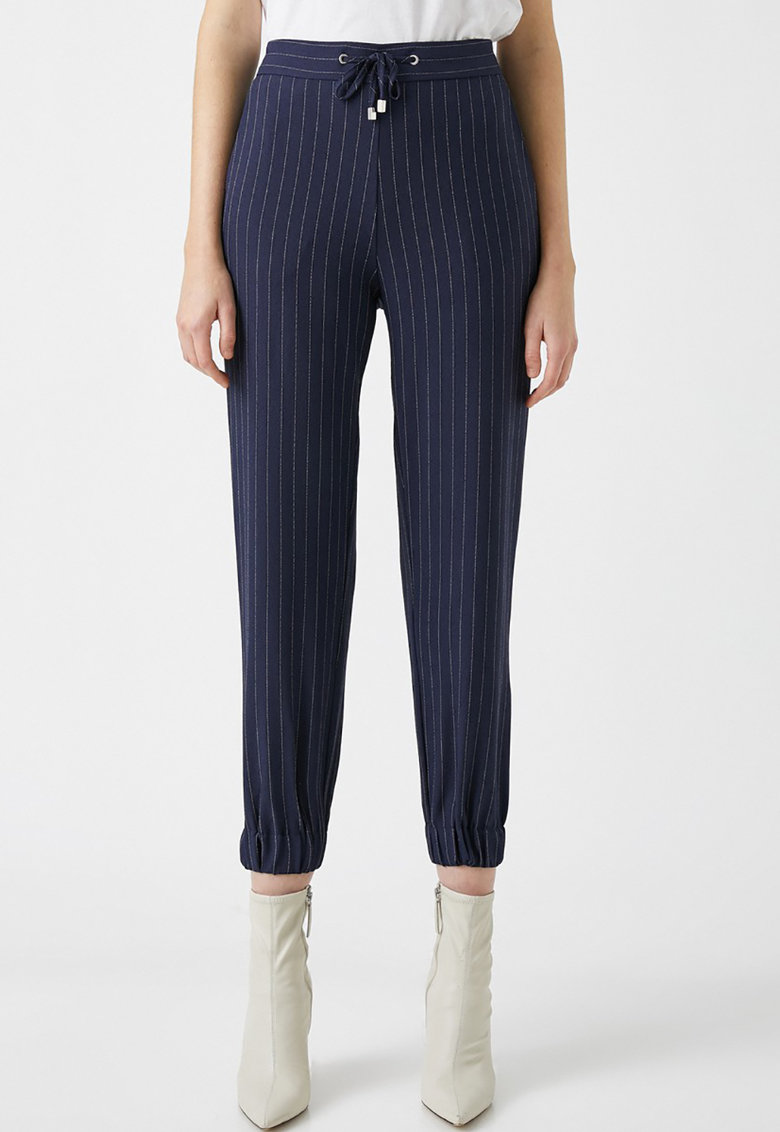 Pantaloni crop cu talie inalta si dungi de la KOTON