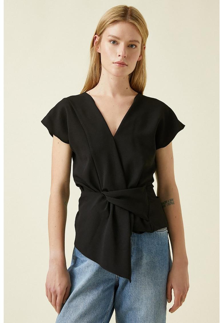 Bluza asimetrica cu drapaj frontal imagine fashiondays.ro KOTON
