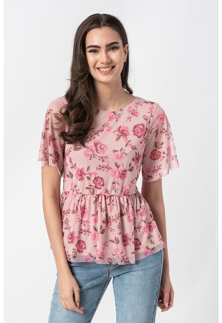 Bluza cu terminatie peplu si maneci semitransparente Miranda imagine fashiondays.ro Vila