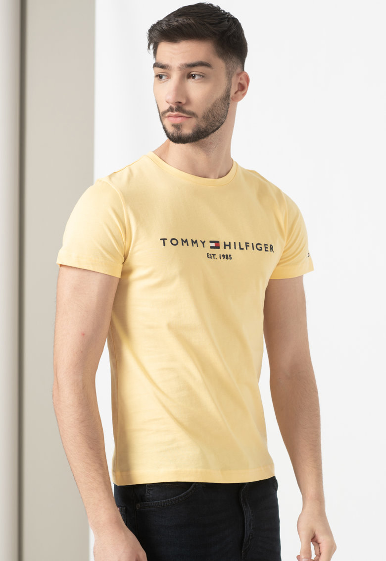 Tricou de bumbac organic cu logo brodat imagine fashiondays.ro Tommy Hilfiger