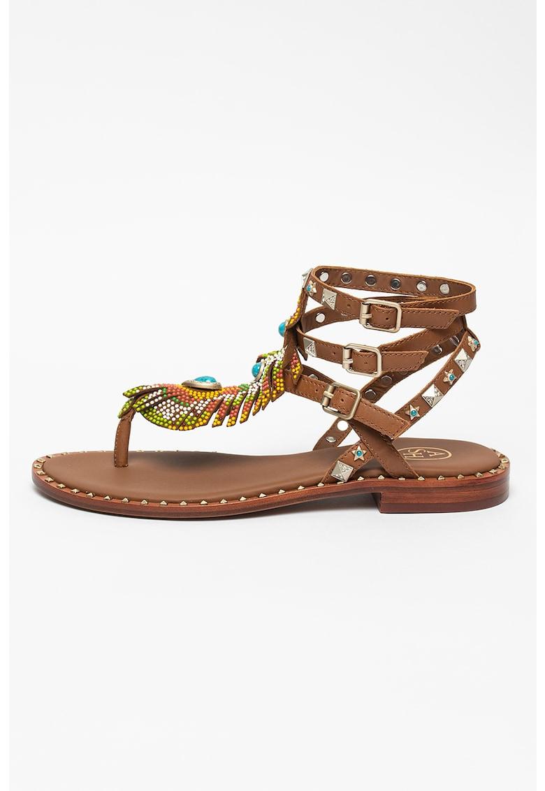 Sandale de piele cu margele Pandora