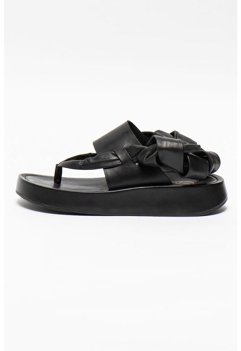 Sandale din piele cu talpa wedge Vince