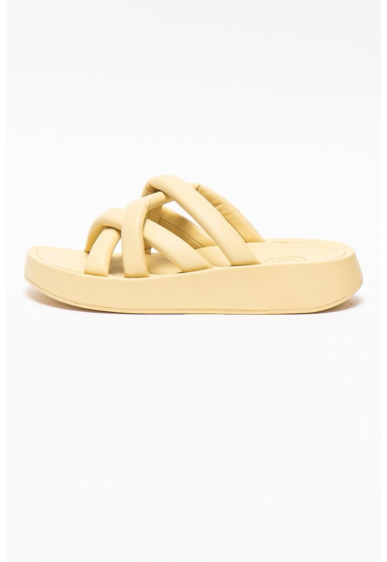 Papuci din piele cu talpa wedge Vanessa imagine fashiondays.ro 2021