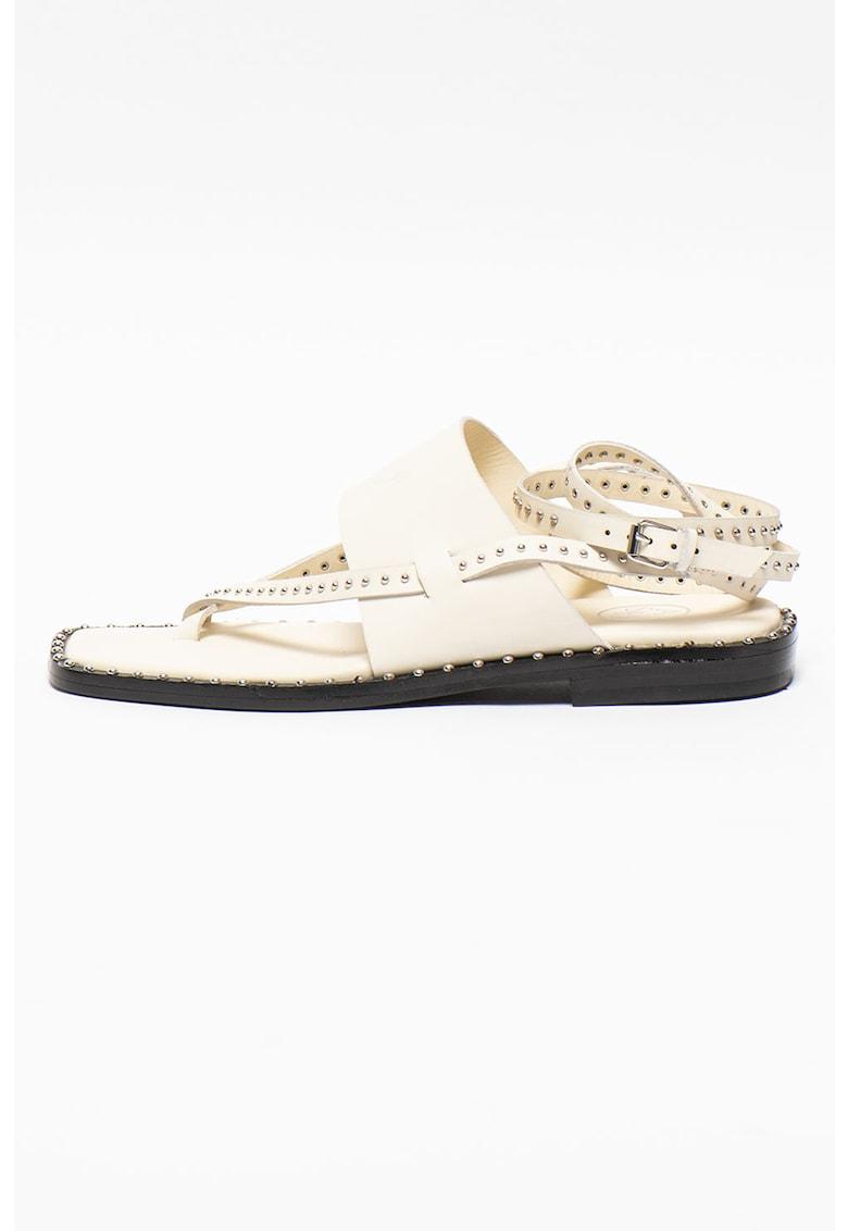 Sandale din piele cu model petrecut si aplicatii cu tinte Medusa