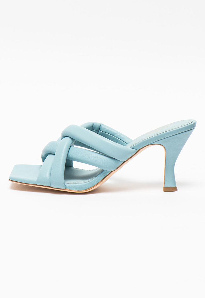 Papuci din piele cu toc si aspect matlasat Mina imagine fashiondays.ro 2021