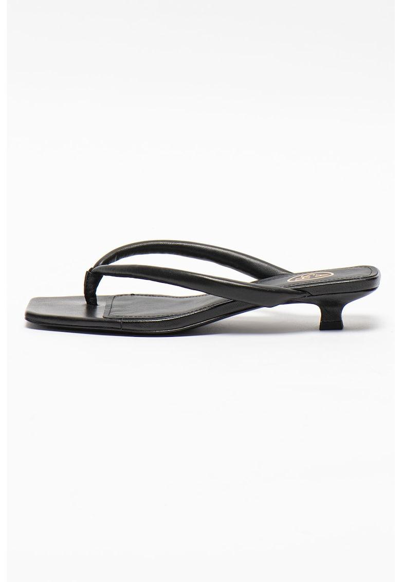Papuci cu toc - din piele Nessy imagine fashiondays.ro 2021