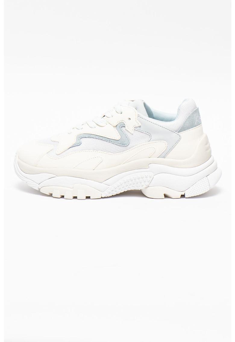 Pantofi sport din piele cu aspect masiv - insertii din piele intoarsa si material textil Addict