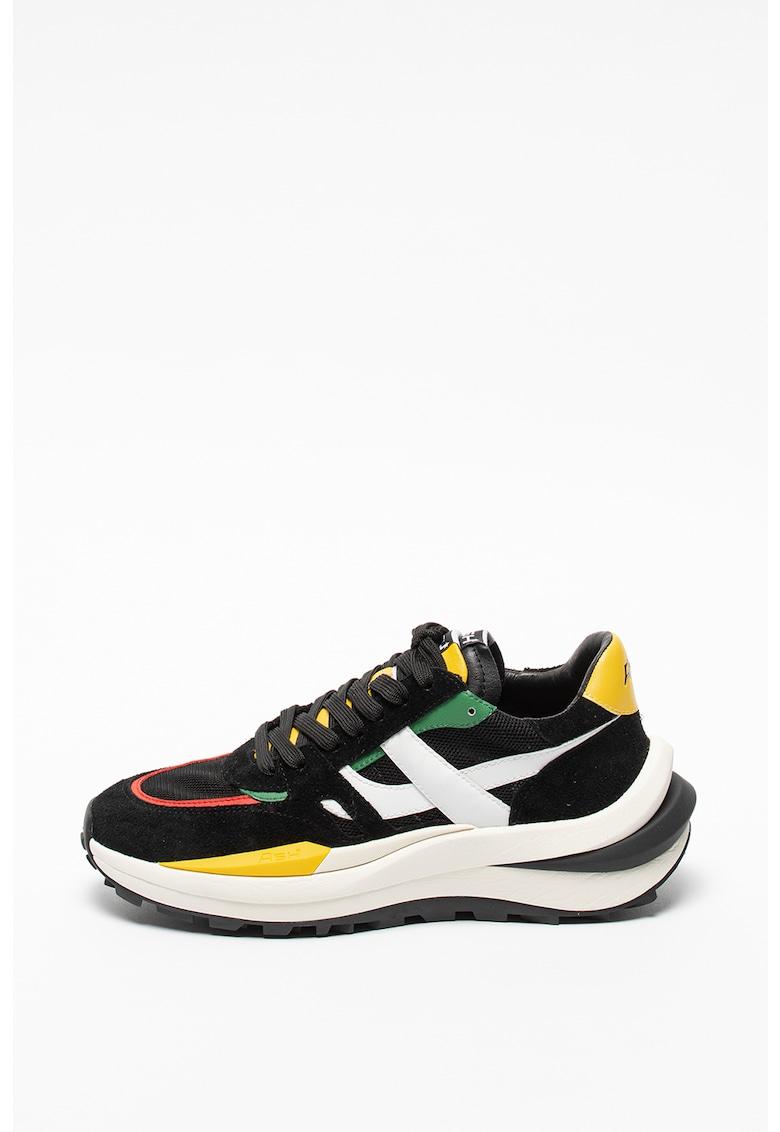 Pantofi sport wedge de piele cu insertii de plasa Spider