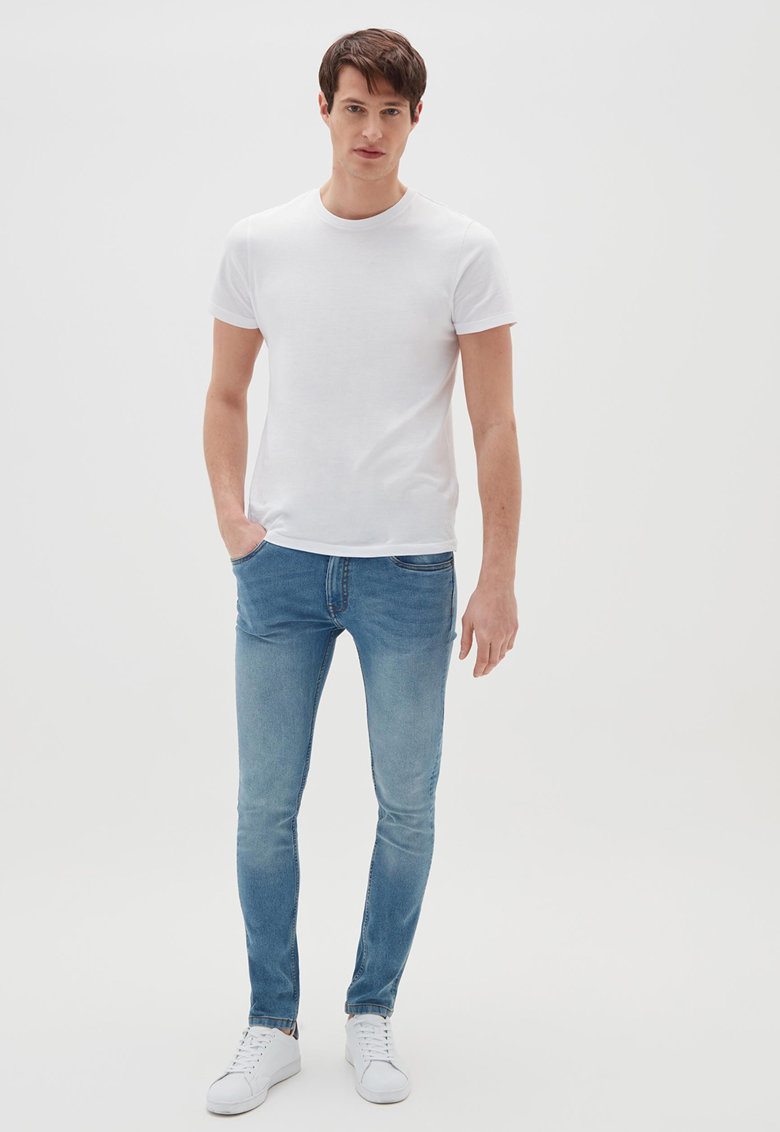 Blugi skinny cu aspect decolorat imagine fashiondays.ro OVS