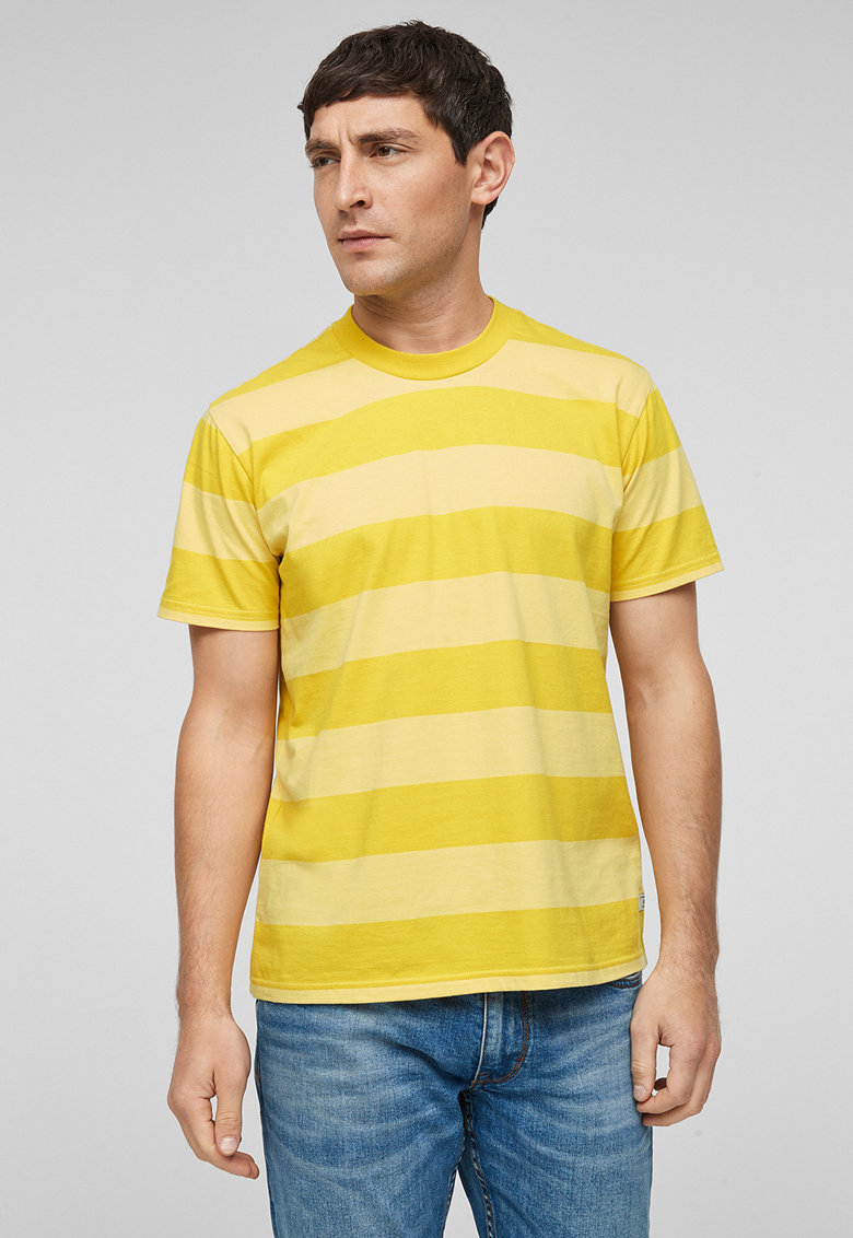 Tricou cu decolteu la baza gatului si model in dungi imagine