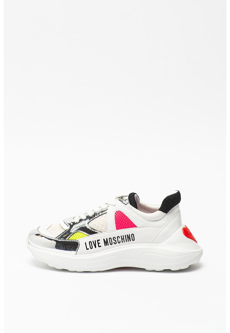 Pantofi sport wedge cu insertii de piele
