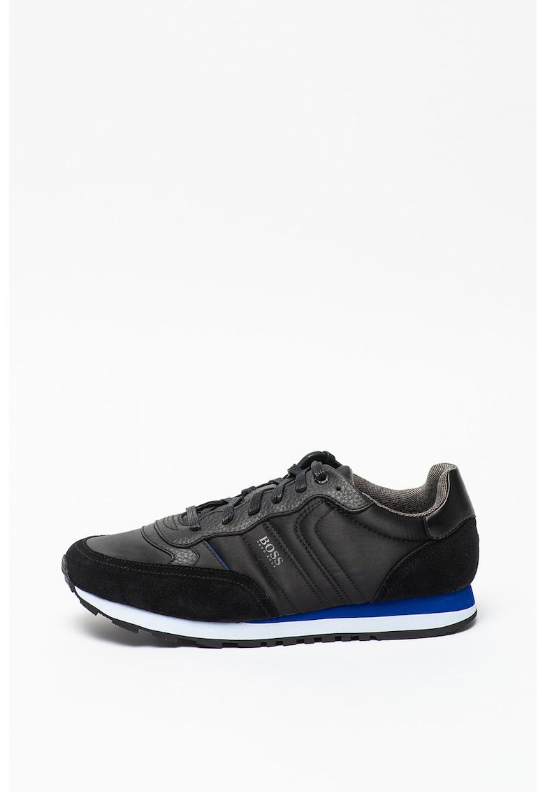 HUGO Pantofi sport cu garnituri de piele intoarsa si piele Parkour Runn imagine fashiondays.ro Boss