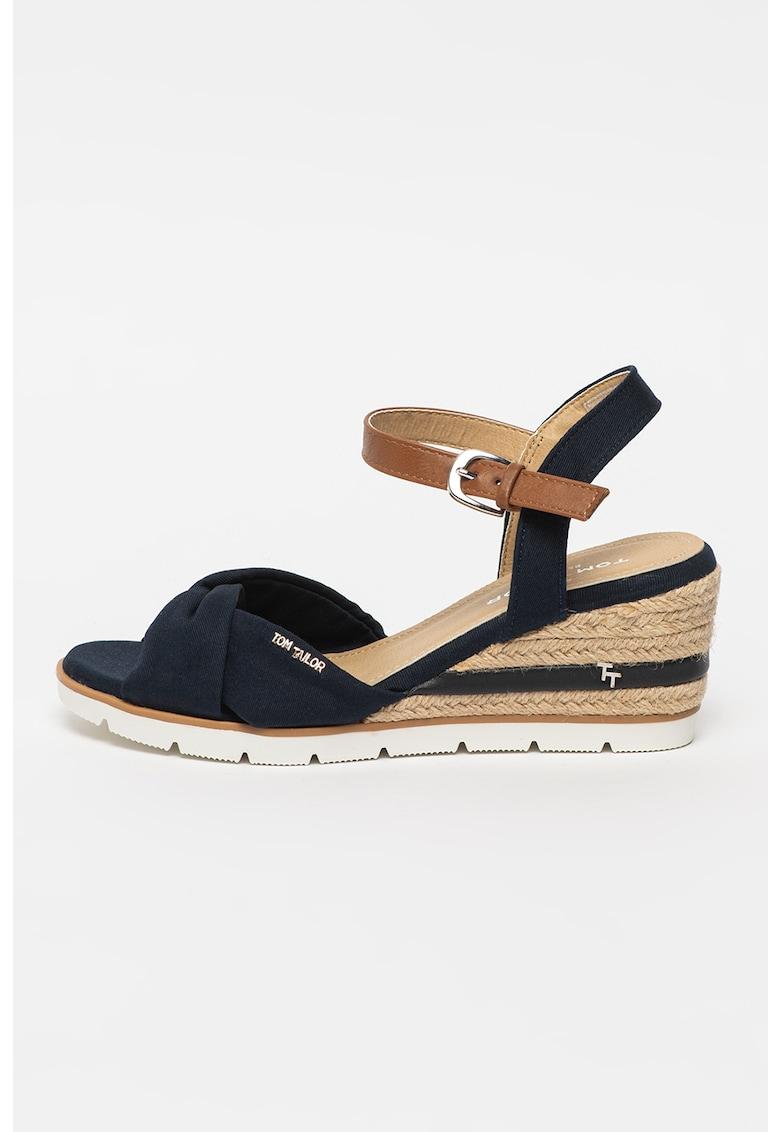 Sandale-espadrile wedge cu detaliu innodat