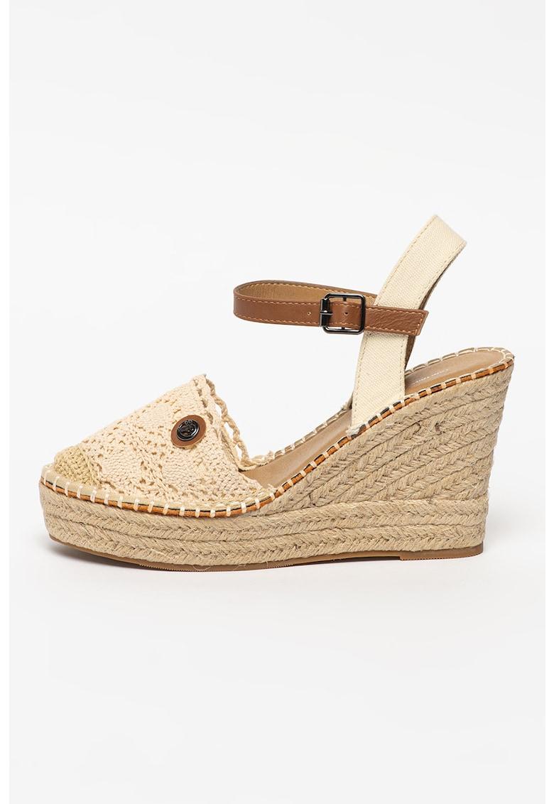 Sandale-espadrile wedge crosetate
