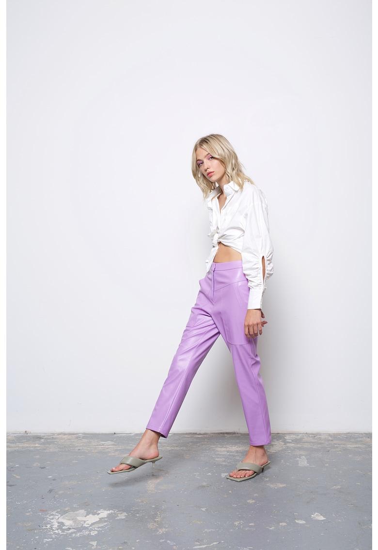 Pantaloni crop cu aspect de piele Zoe