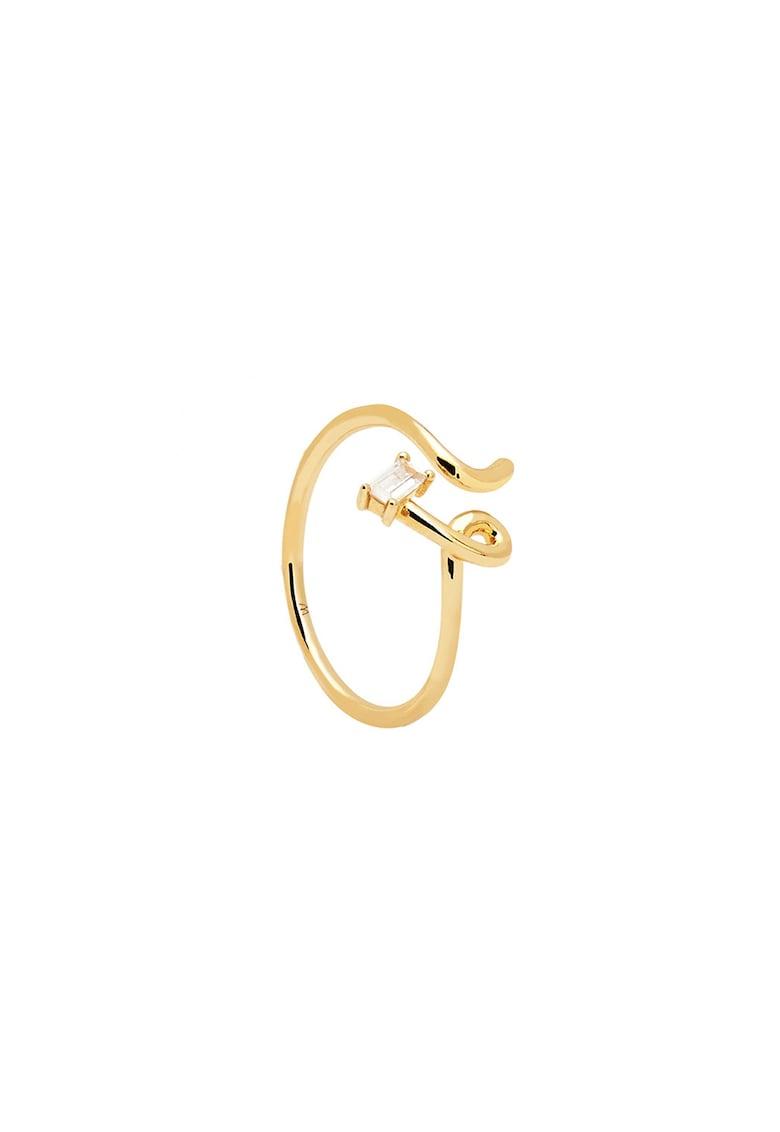 Inel placat cu aur de 18K - cu model rasucit poza fashiondays