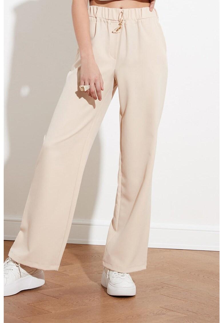 Pantaloni sport cu snur de ajustare si talie inalta imagine