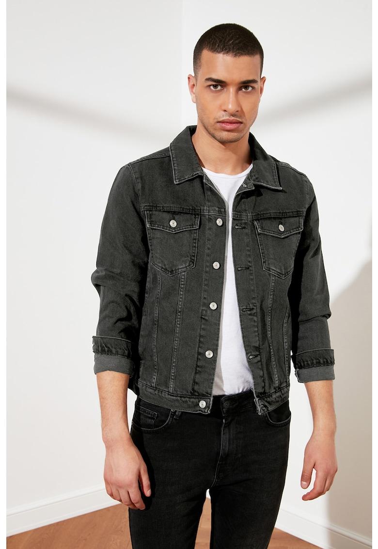 Jacheta din denim cu buzunare cu model in carouri imagine