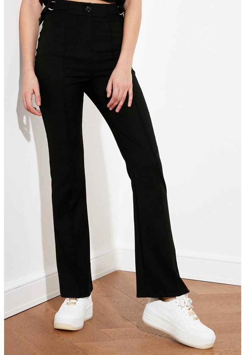 Pantaloni cu talie inalta si croiala bootcut imagine