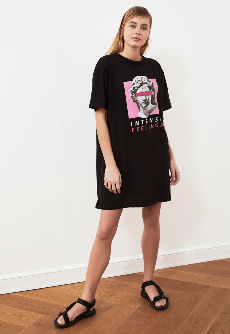 Rochie de jerseu cu imprimeu grafic imagine