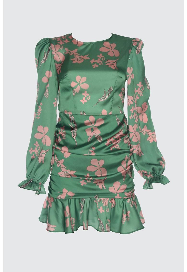 Rochie cu model floral si decupaj pe spate imagine
