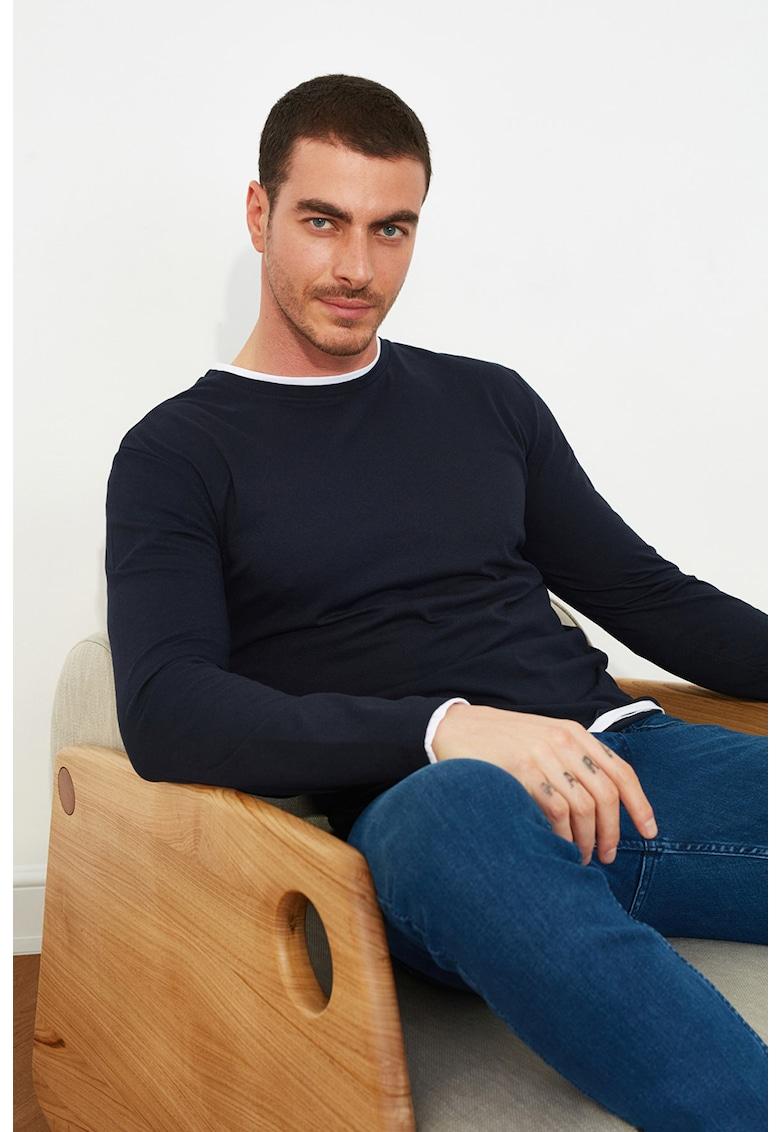 Bluza slim fit cu garnituri contrastante