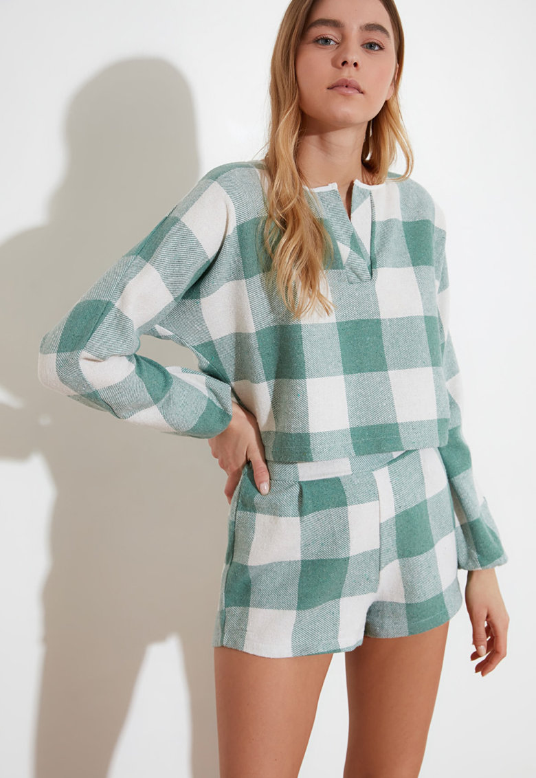 Pijama in carouri cu maneci lungi imagine