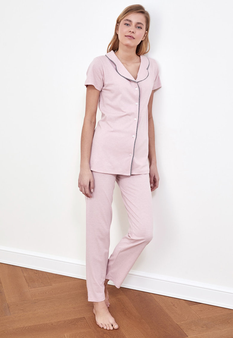 Pijama de bumbac cu detalii contrastante imagine