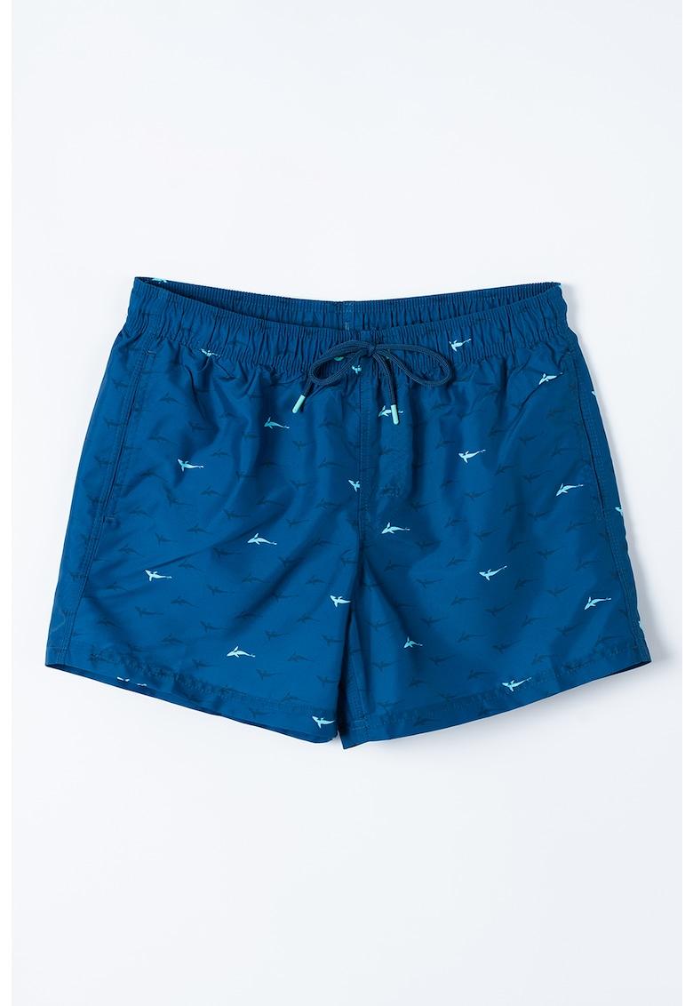 Pantaloni scurti de baie cu imprimeu si snur