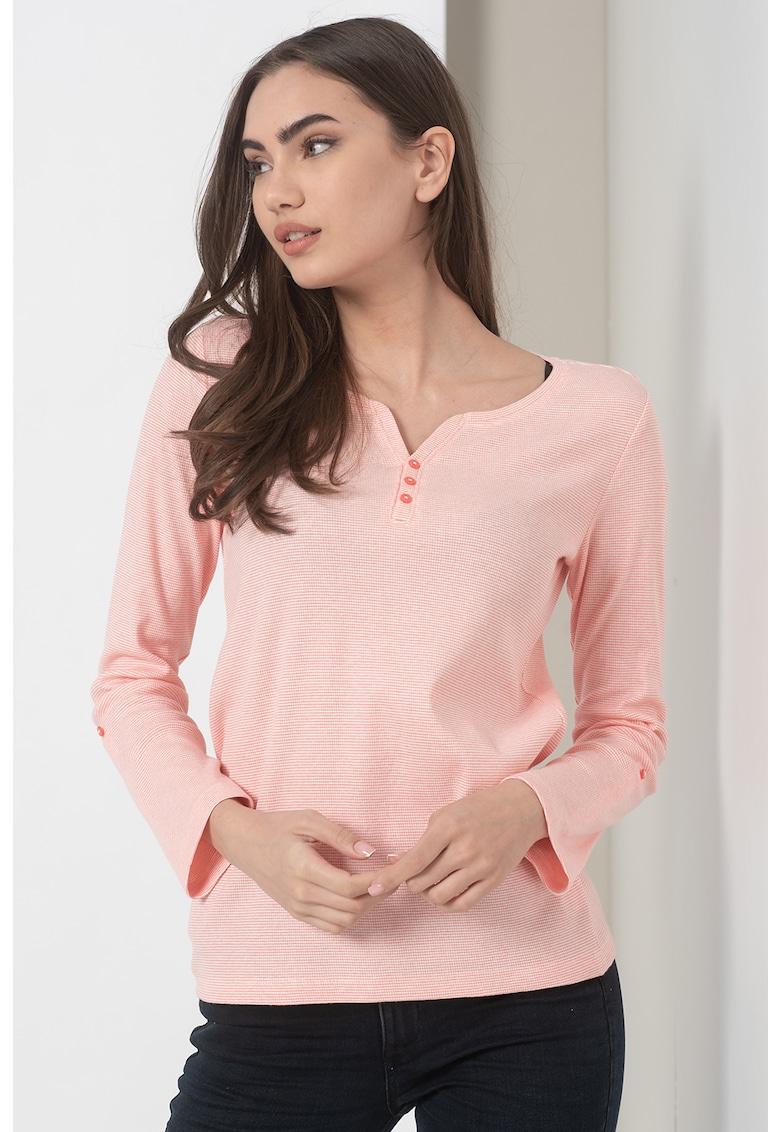 Bluza texturata cu decolteu henley de la Tom Tailor
