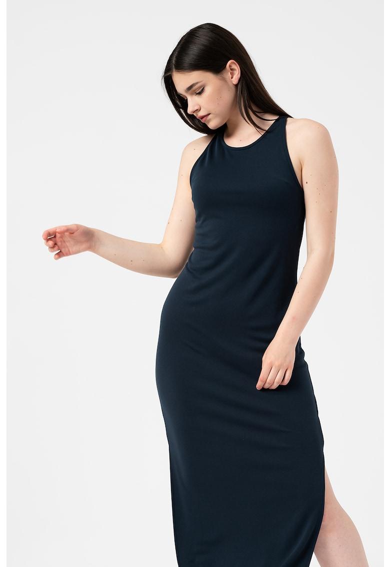 Rochie midi din amestec de tencel cu slituri laterale