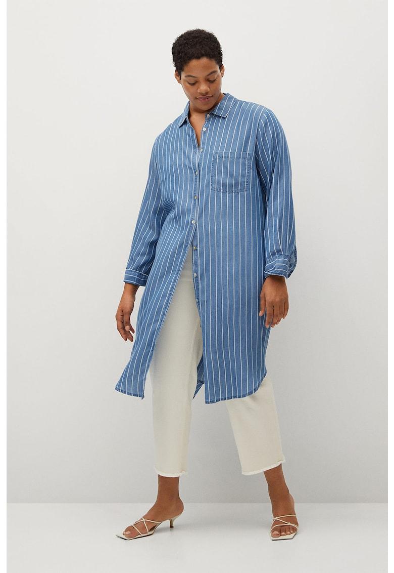 Camasa lunga din lyocell cu model in dungi Stripes imagine