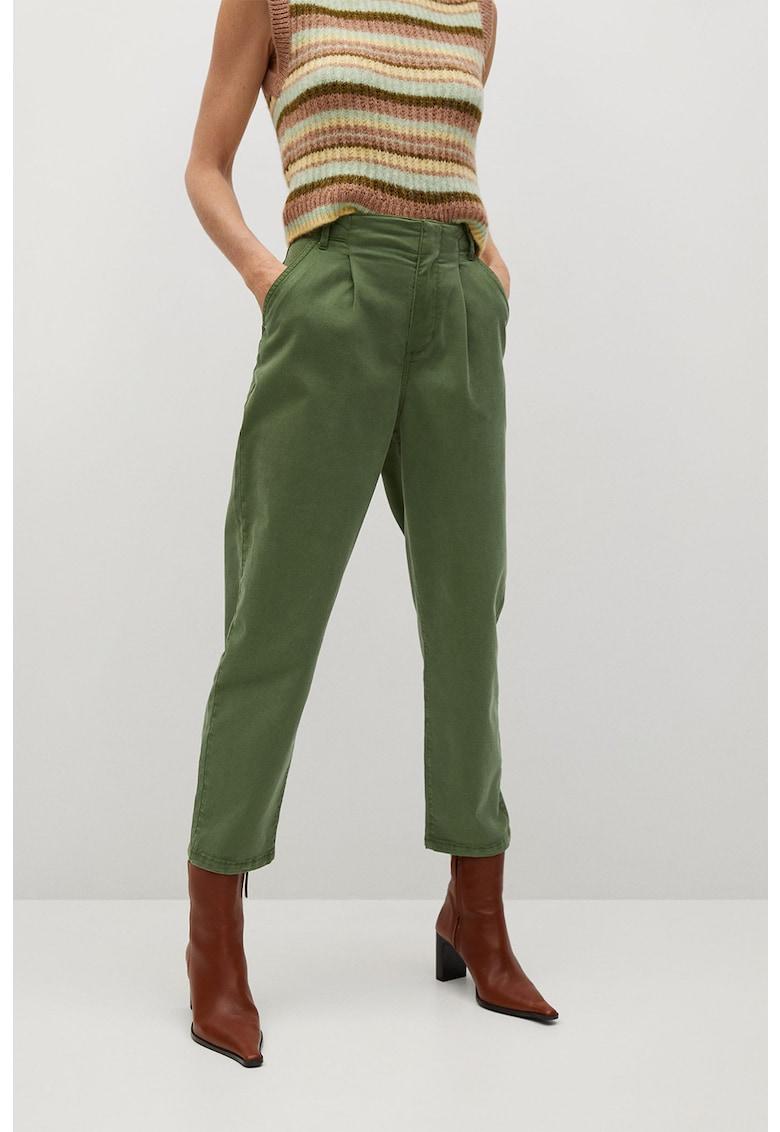 Pantaloni chino crop din lyocell cu pliuri Mauro imagine