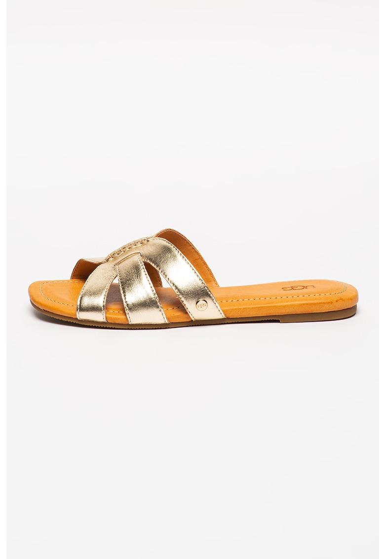 Papuci de piele cu aspect metalizat Teague