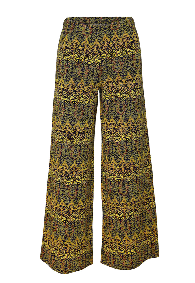 Pantaloni cu croiala ampla si model etnic imagine