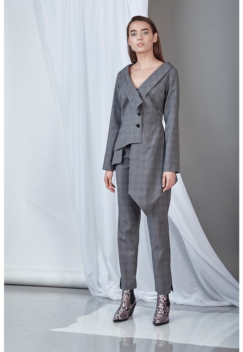 Sacou de lana cu terminatie asimetrica poza fashiondays