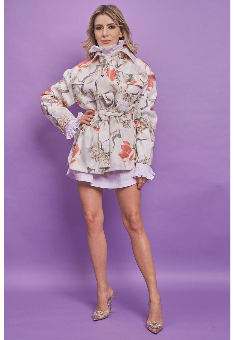 Jacheta din amestec de lana si casmir cu imprimeu Joy imagine