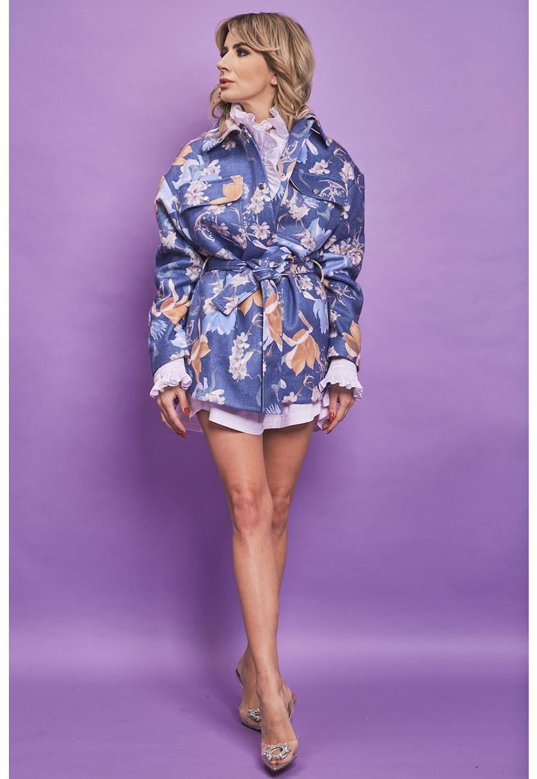 Jacheta din amestec de lana si casmir cu imprimeu Sophia imagine