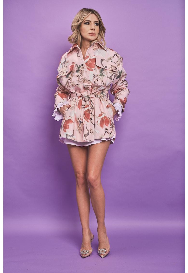 Jacheta din amestec de lana si casmir cu imprimeu Bella imagine