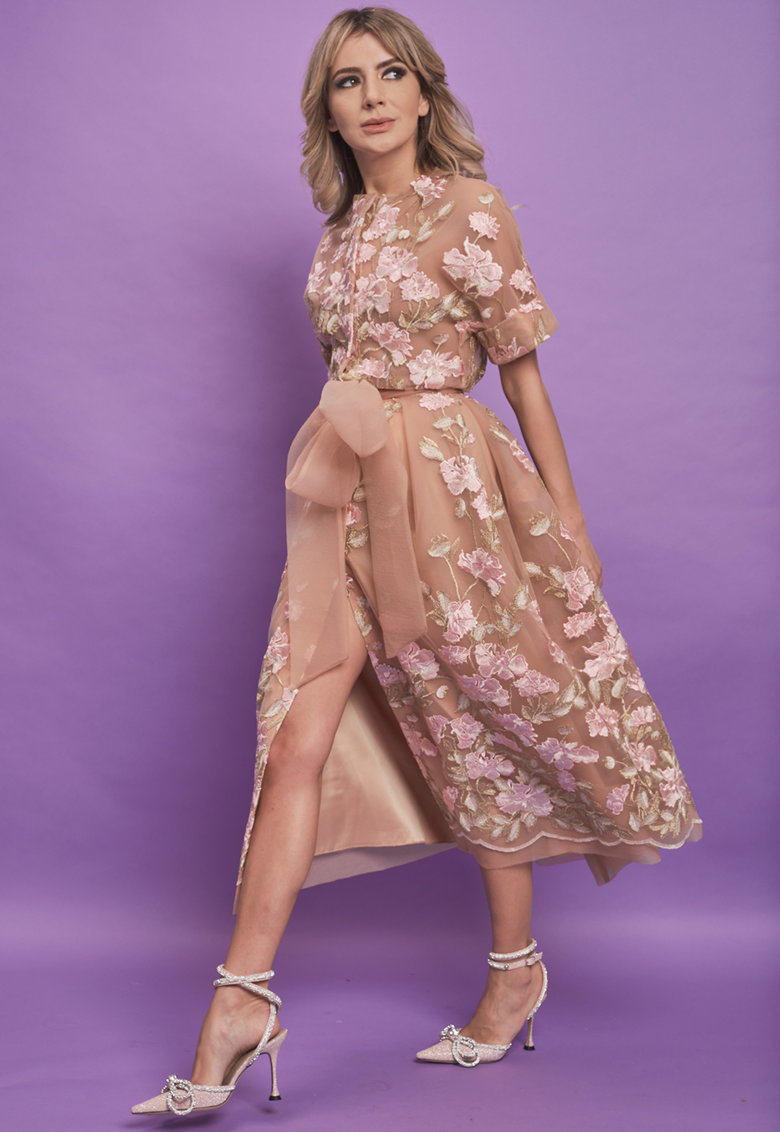 Rochie midi cu funda decorativa Midori imagine