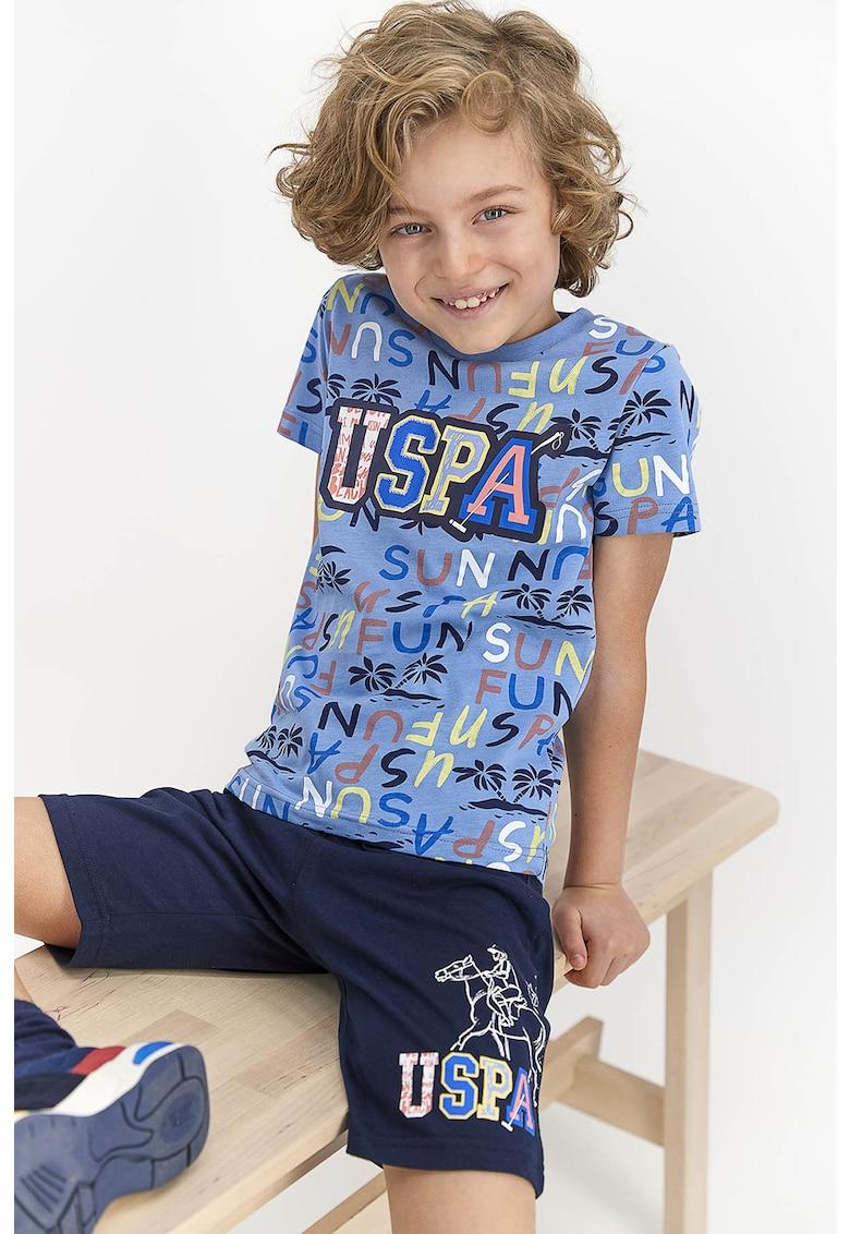 Pijama cu pantaloni scurti si imprimeu logo imagine fashiondays.ro 2021