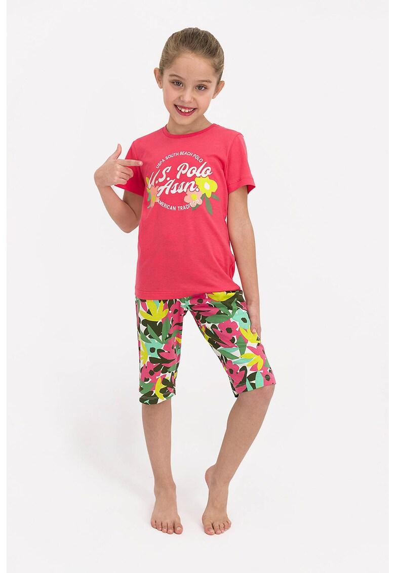 Pijama de bumbac cu imprimeu imagine fashiondays.ro 2021