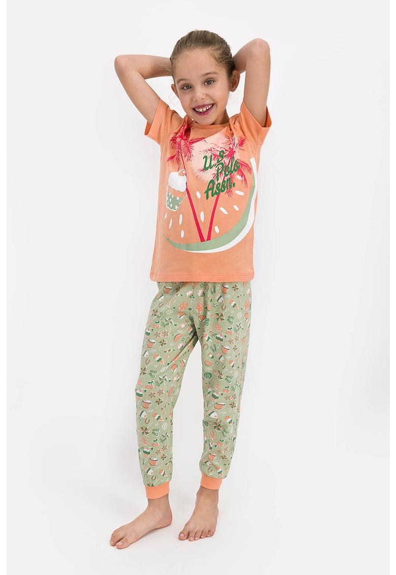 Pijama cu imprimeu grafic imagine fashiondays.ro 2021