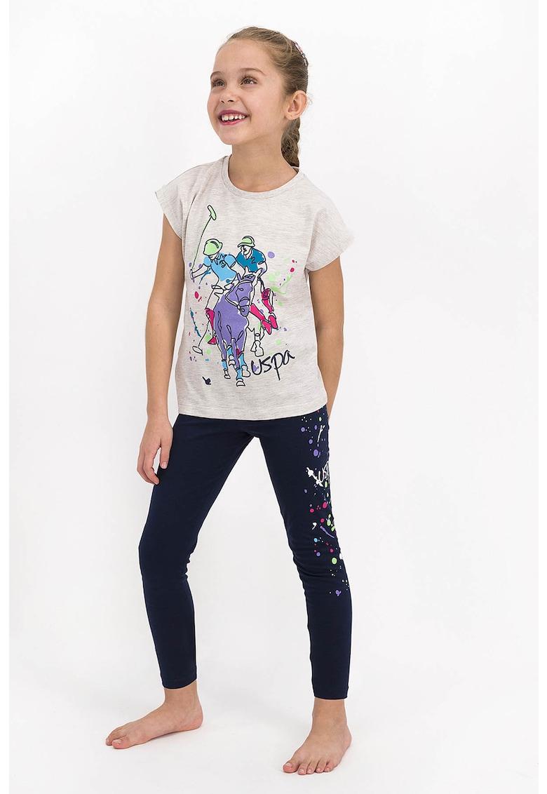 Pijama cu imprimeu si maneci scurte imagine fashiondays.ro 2021