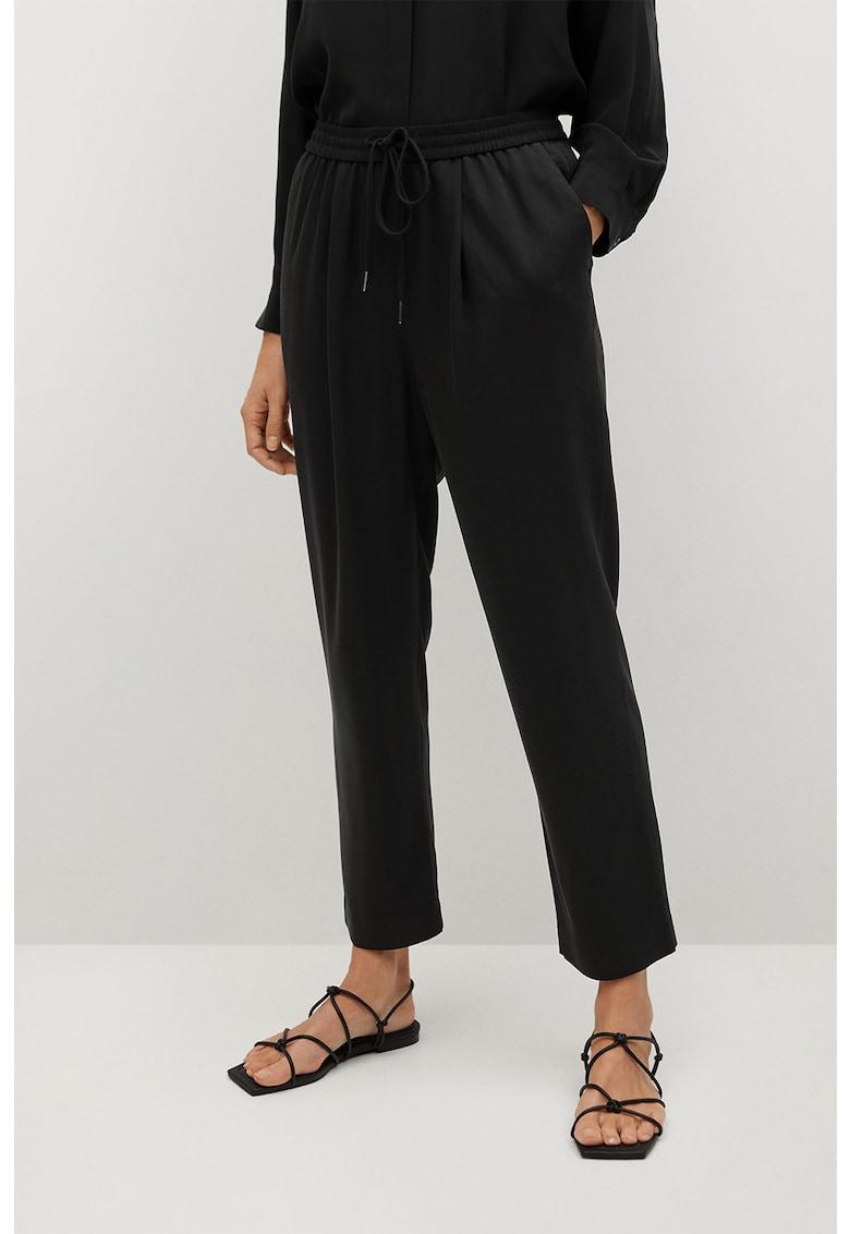 Pantaloni crop din amestec de lyocell cu talie ajustabila Fluido imagine
