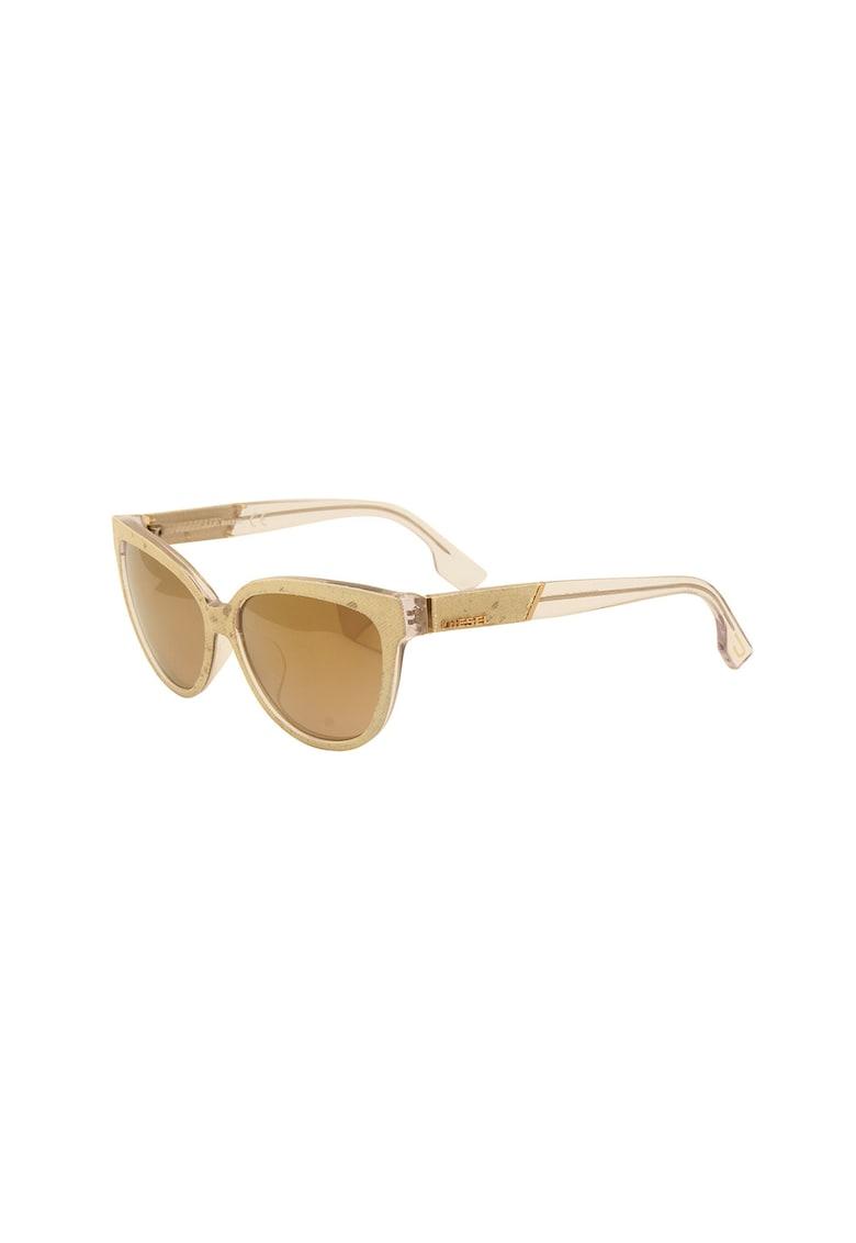 Ochelari de soare cat-eye cu aplicatii de denim poza fashiondays