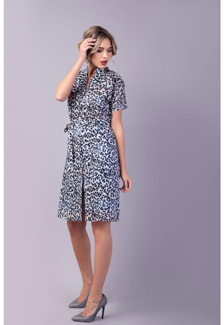 Couture de Marie Rochie midi cu animal print Willa
