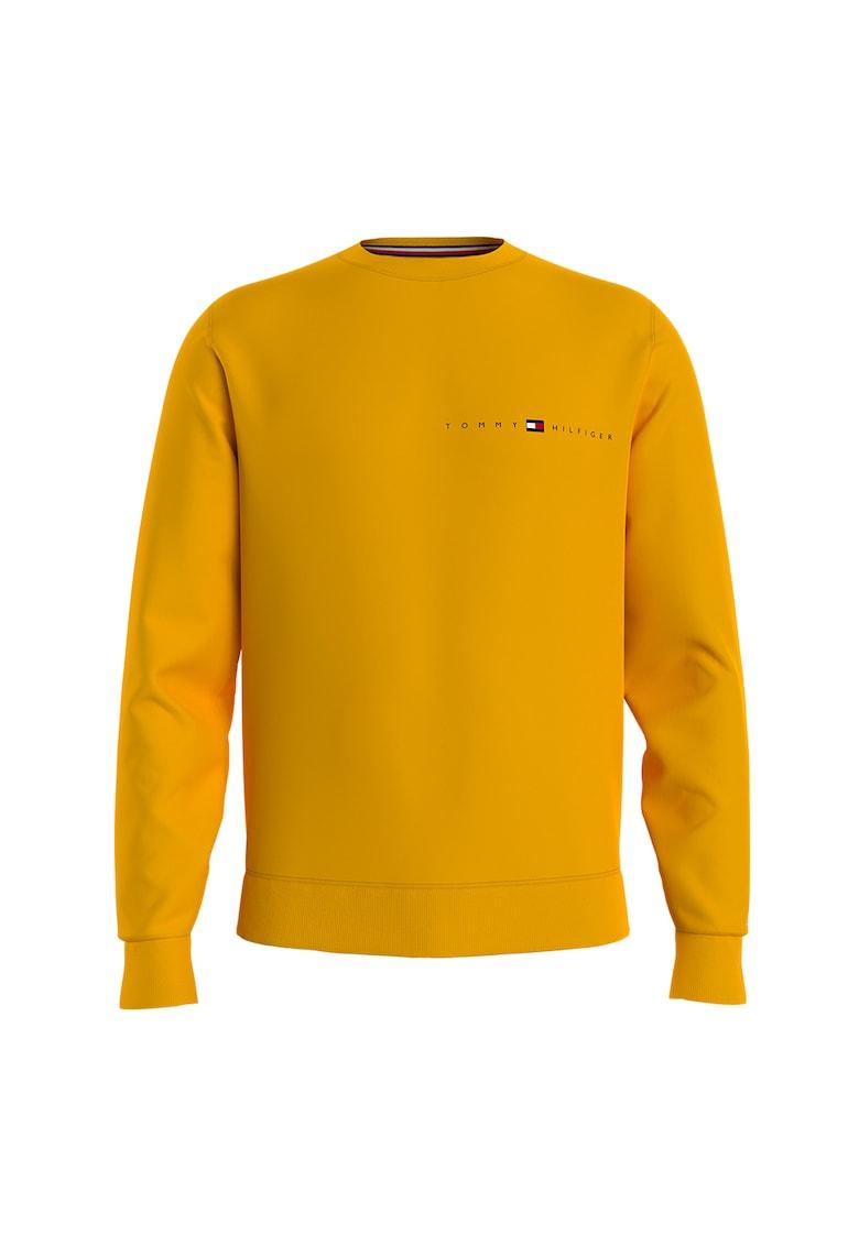 Bluza sport de bumbac organic cu logo si decolteu la baza gatului imagine fashiondays.ro Tommy Hilfiger