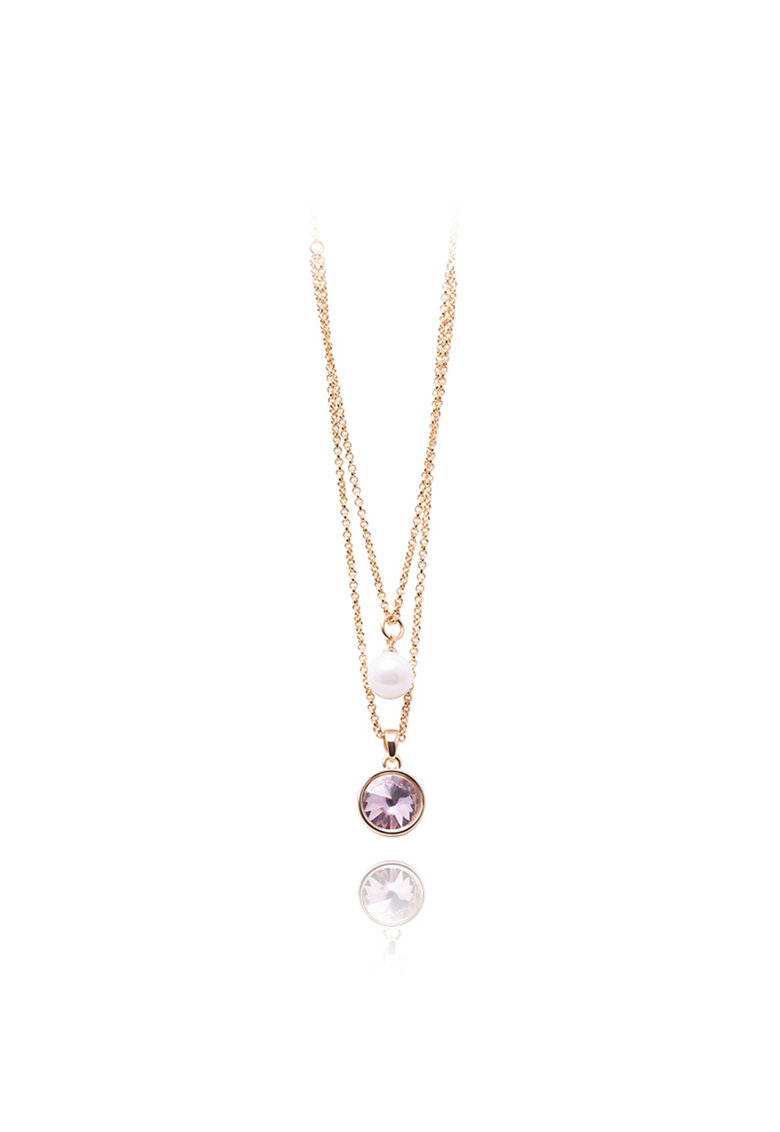 Annie Rosewood Colier placat cu aur - decorat cu perla sintetica si cristal