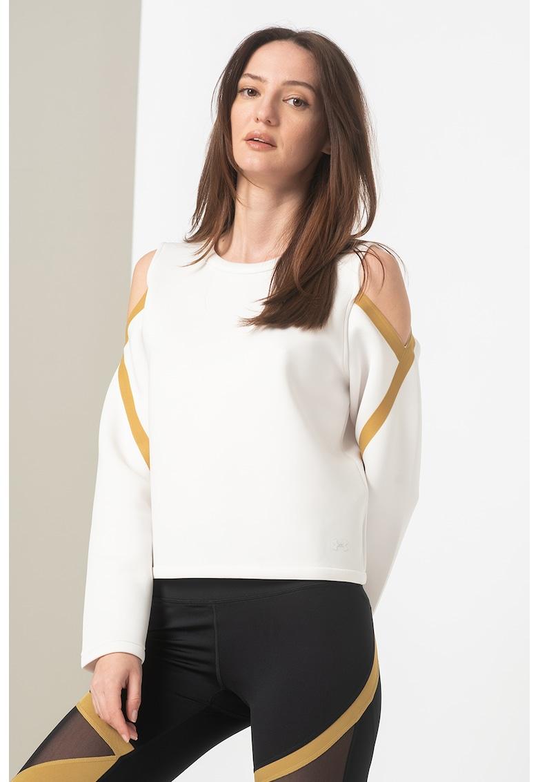 Bluza sport cu decolteu pe umeri si benzi contrastante Misty Spacer
